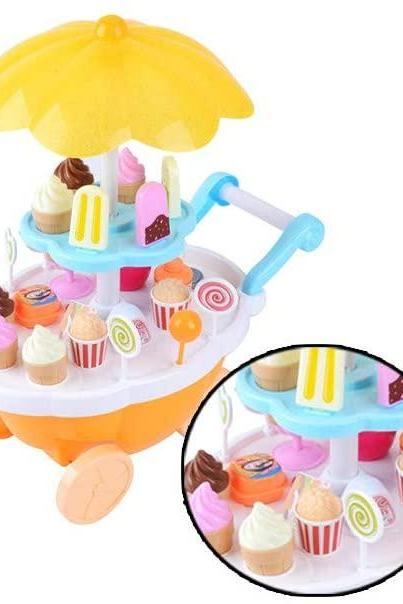 Mini Candy Cart Toy Candy Ice Cream Cart with Light and Music Children's Toys Set Rotating Supermarket Trolley Pretend Play Set for Baby Kids Yellow