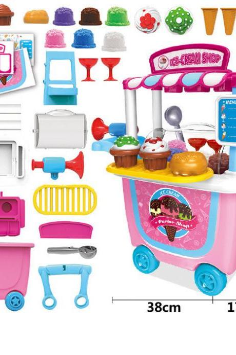 BBQ Play House Trolley Toy Set, Kids Supermarket Pretend Food Play Set, Ice Cream Cart, Food Cart Toy for Boys Girls Kids Children Birthday Christmas
