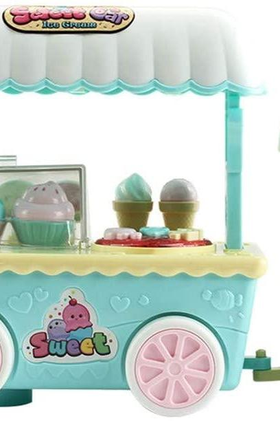 Ice Cream Cart Play Set | Kids Mini Pretend School Playset Food Truck Toy Food Supermarket Trolley Table Toys Automatic Forward & Clapping Control (Green)