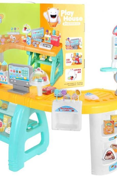 Children's Supermarket Cash Register Toys, Store Cashier Counter Simulation Sales Counter Pretend a Toy, Cosplay Candy/Juice/Ice Cream Sales Counter