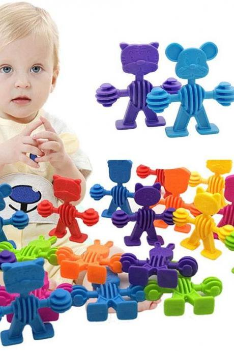 Colorful Animal Insert Building Blocks Toy DIY Assembling Toys Early Learning Educational Toys for Children Kids(60 elf)