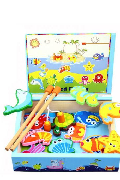 Wooden Magnetic Boxed Fishing Toys Children Kitten Magnetic Fishing Toy For Children