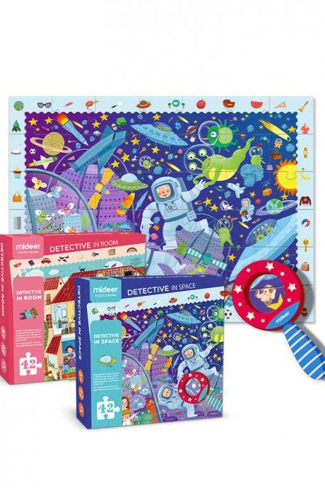 Space exploration big cartoon paper children's puzzle creative toy with magnifying glass