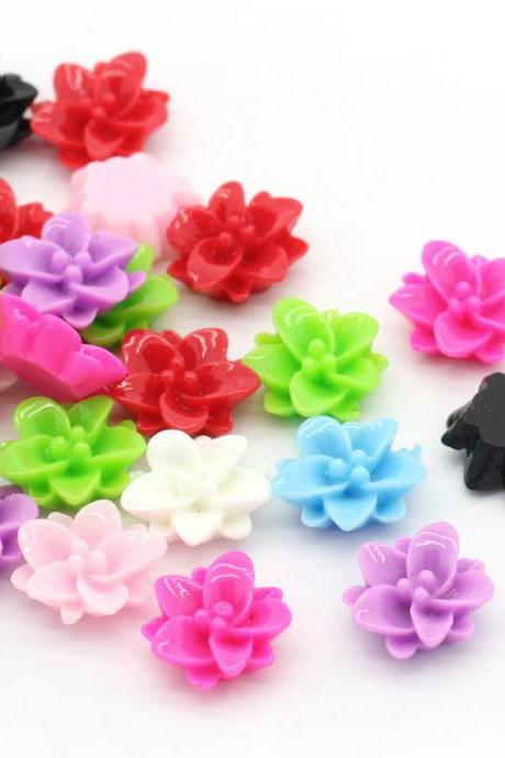 200 Pieces Assorted Colors Size Resin Rose Flower Flatback Cabochons Embellishments