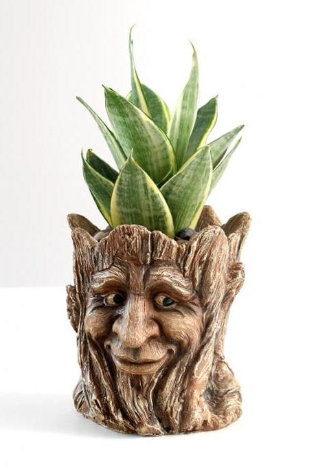 Home Decoration Resin Flower Pot Vintage Imitation Old Man Head Container Creative Tree Man Flower Pot