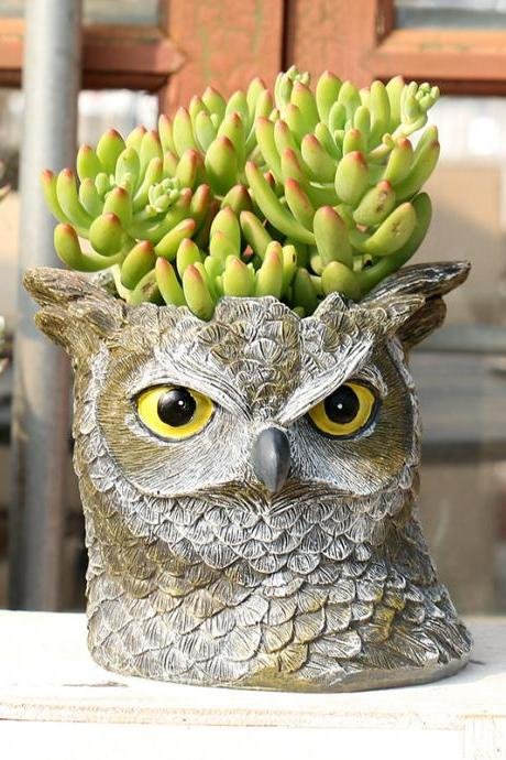 Home Decoration Resin Flower Pot Resin Owl Flower Pot Container Flower Pot