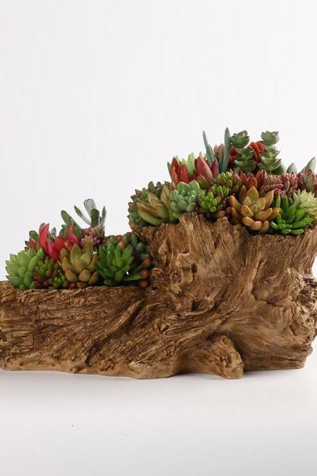 Home Decoration Succulent Flower Pot Antique Wood Plant Flower Pot Resin Large Decoration Flower Pot