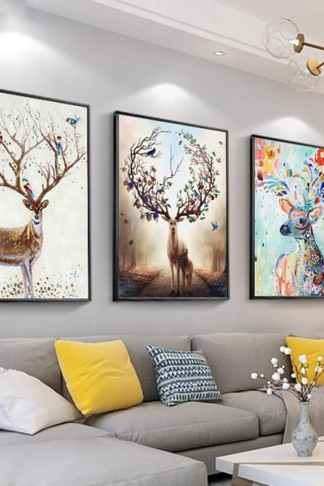 Living Room Decoration Painting Triptych elk Hanging Painting Background Living Room Decoration Painting Modern Restaurant Painting (with Frame)