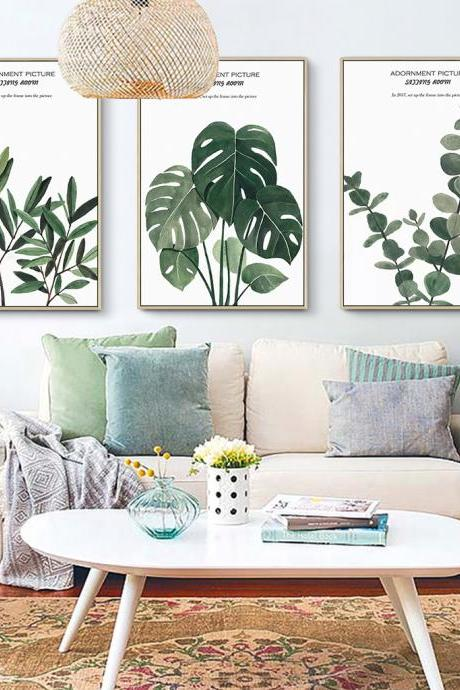 Simple Nordic Plant Decoration Painting Modern Restaurant Hanging Painting Study Living Room Triptych Bedroom Headboard