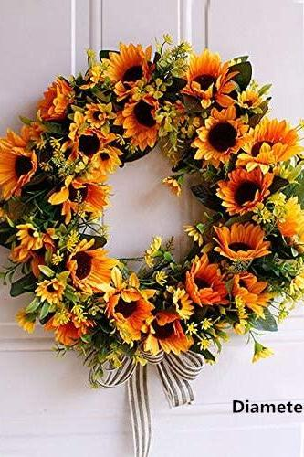 18 Inch Tulip Blossom Welcome Spring Front Door Wreath with Wooden Rattan Artificial Flower Tulip Floral Twig Door Wreath Door Wall Window Hanging Fake Tulip Wreath for Home Party Festivals Decor
