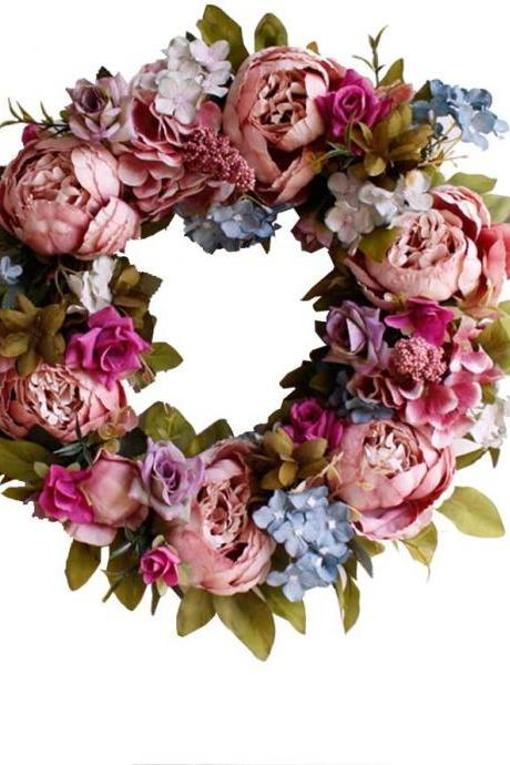 Peony Wreath Rose Floral Twig Wreath 16 Inch Handmade Vintage Artificial Flowers Garland Front Door Wreath Beautiful Silk For Spring And Summer Wreath Display (retro pink)