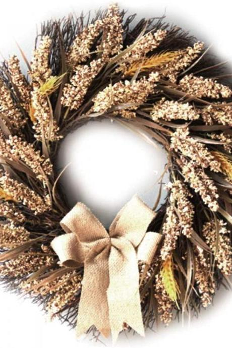 Fall Wreath Artificial Wheat Ears Wreath Harvest Wreath for Autumn Wedding Party Halloween Thanksgiving Home Decor