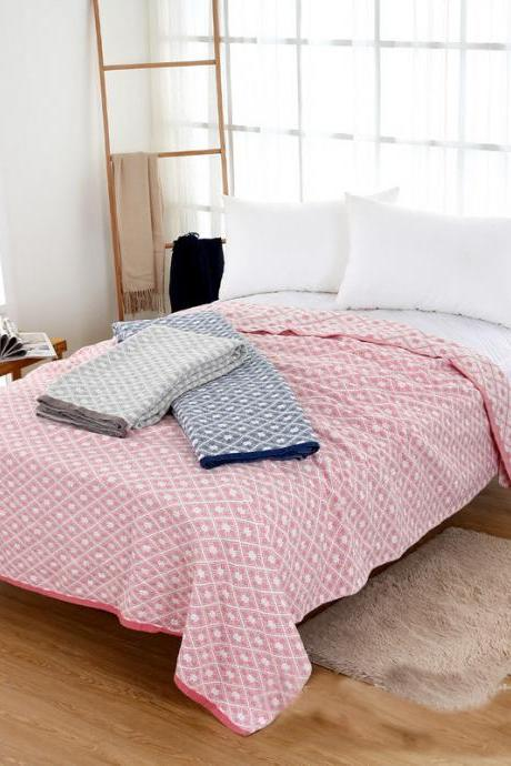 Pure Cotton Gauze Towel Quilt Fabric Towel Quilt Geometric Pattern Towel Quilt Summer Cool Quilt