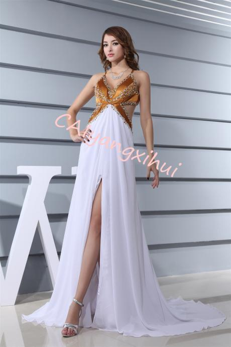 Women White Dress Women Sexy Lace Camisole Splicing Backless Chiffon Sleeveless Beach Long Dress