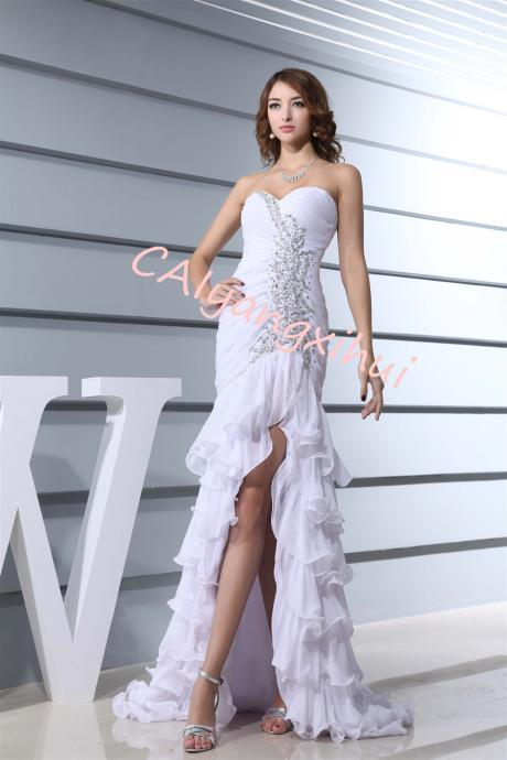 Women's Prom Lgown Beaded Evening Dress Bottom Skirt Asymmetric
