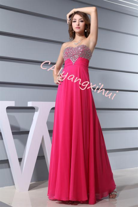 Long Chiffon Prom Dress Evening Gown for Women Crystal Beaded Bridesmaid Dress