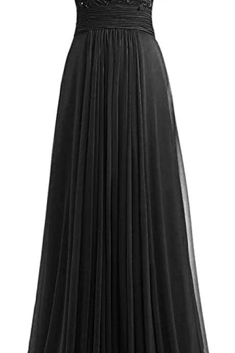 Women Beaded Chiffon Long Bridesmaid Dresses Formal Wedding Guest Gown