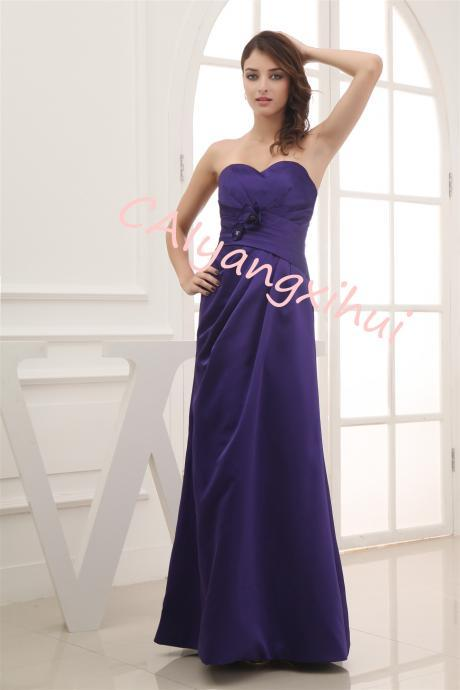 Women Elegant Satin Long Prom Dress Party Bride Backless Evening Dress