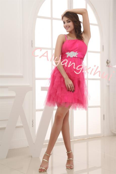 Women's tulle short round neck bridesmaid return home dress