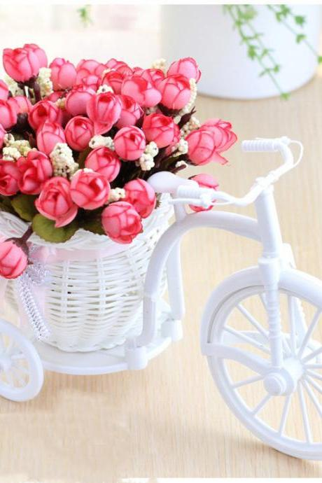 Artificial Garden Fake Flowers with Baskets Silk Rose Bike Stand for Home Office Decoration