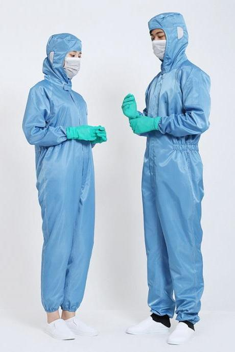 Non-Disposable Anti-Dust Protective Clothing Elastic Siamese Suit Anti-Static General Isolation Clothing (3 PCS)