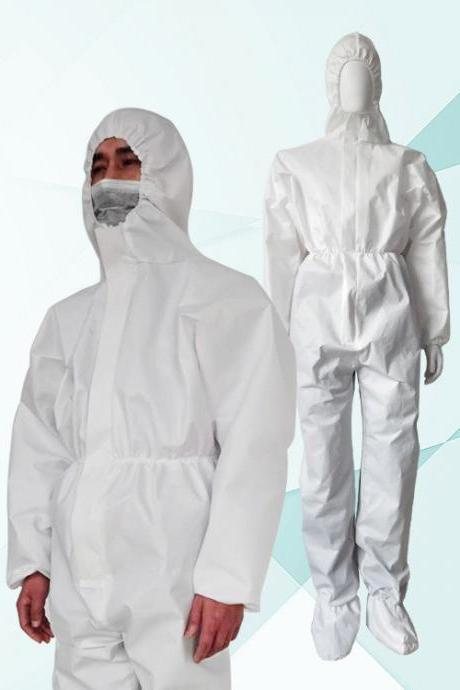 New Professional Isolation Suit for People, Disposable Protective Clothing Disposable Elastic Wrist and Hood Outdoor Coverall Suit with Front Zipper