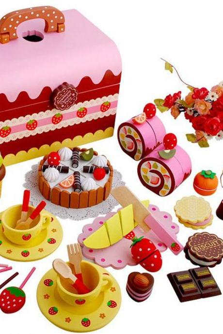 Children Play House Gifts Magnetic Birthday Cut Cake Cut Cut Music Wooden Simulation Kitchen Tableware Toy Set