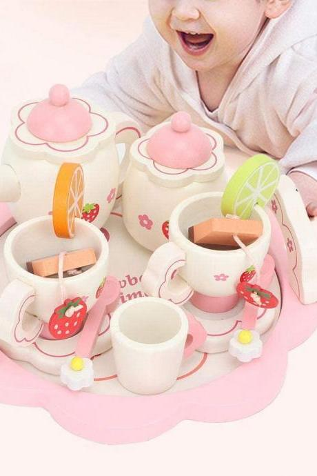 Wooden Tea Set Toys- Play Food and Kitchen Accessories-Wood Tea Time Set Toys- 14Pcs