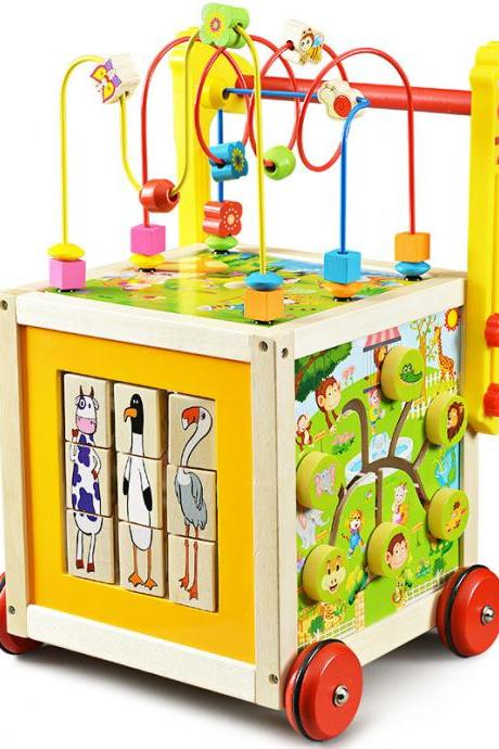 Wooden Children Walker Trolley Baby Baby Round Beads Anti-Rollover Multi-Function Wooden Walker Toy