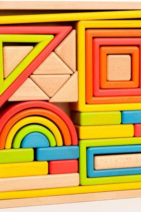 Wooden Hollow Building Blocks Hollow Construction Children's Toys, Educational Creative Puzzle Toys, Rainbow Set Building Blocks, Early Childhood Education Toys