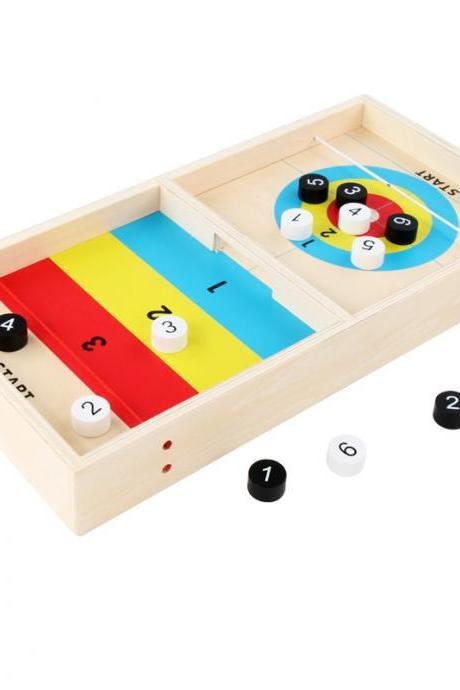 Desktop Interactive 2-in-1 Curling Board Game, Wooden Desktop Early Education Puzzle Curling Game, Release Stress, Suitable for All Ages