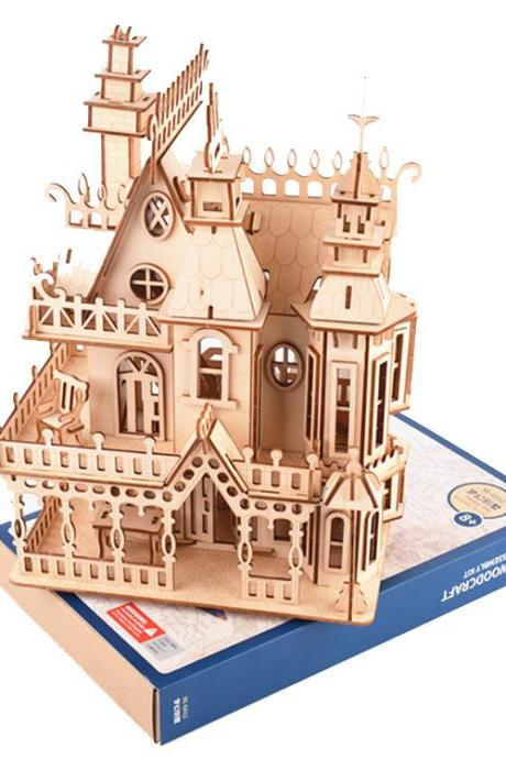 3D Wooden Puzzle-Wood House Model-Educational Toys 3D Puzzle Gift for Kids, Training, Relieving Anxiety