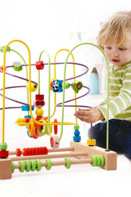 Wooden Fruits Insect Bead Maze Roller Coaster Activity Cube Educational Abacus Beads Circle Toys Training Child Attention Count and Grasping Ability