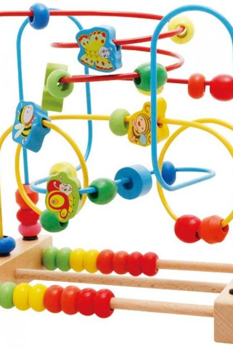 Wooden Fruits Insect Bead Maze Roller Coaster Activity Cube Educational Abacus Beads Circle Toys Training Child Attention Count and Grasping Ability (Insect Bead)