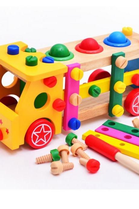 Children's Educational Toys, Parent-Child DIY Toy Screw Car/Pile Car Disassembly Nut Educational Toys, Children's Educational Assembling Building Blocks, Children's Wooden Preschool Toys