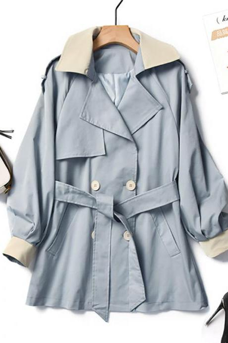 2020 Spring And Autumn New Korean Color Matching Suit Collar Coat Temperament Waist Loose Loose Trench Coat Women Long Coat