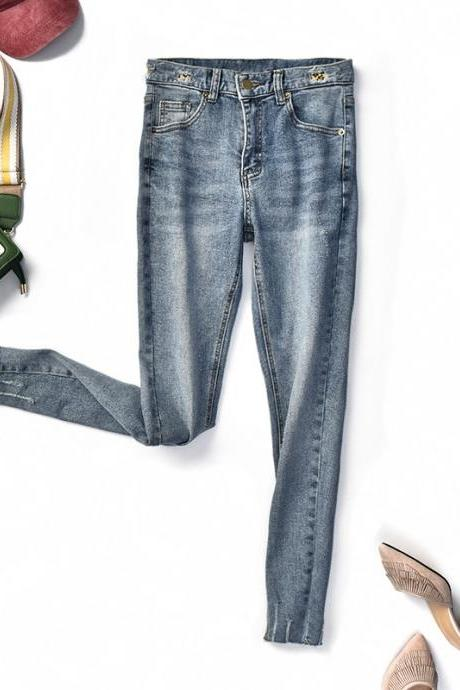 Women's Casual High Waist Fit Denim Jeans Pencil Jeans
