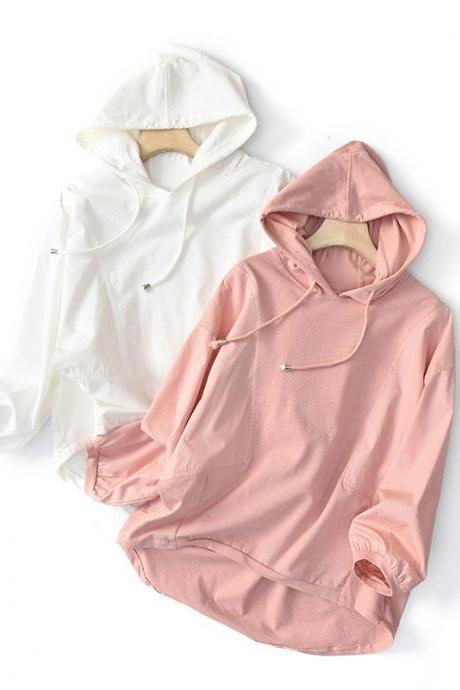 Spring Casual Hooded Sweater Women's Solid Color Stitching Simple Long-Sleeved Shirt