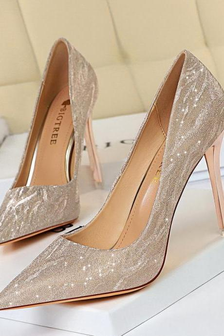 European and American high heel women's shoes, fine heels, high heel pointed sequins sexy high heel