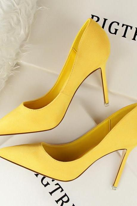 Korean fashion simple thin heeled high-heeled shallow pointed suede sexy was thin professional OL women's shoes