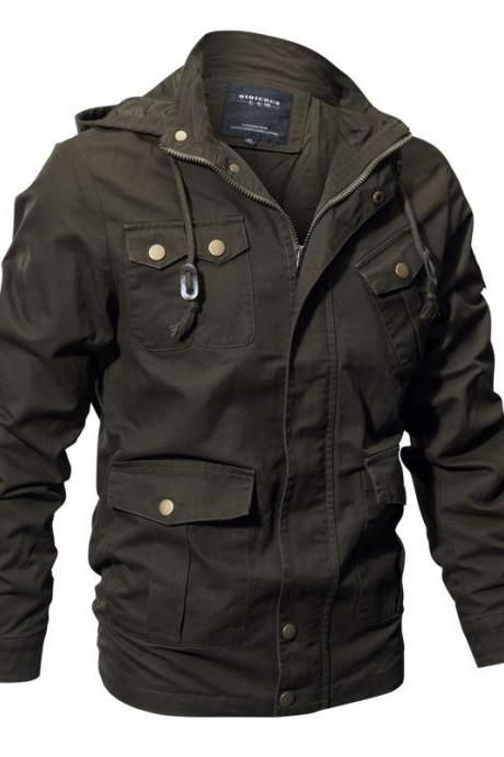 Large Size Men's Jacket Military Multi-Pocket European And American Trench Coat Jacket