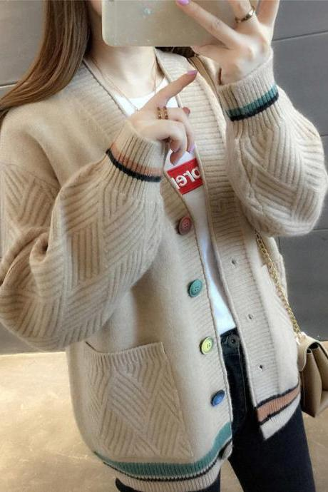 Sweater Ladies Cardigan Spring Loose Knit Coat Female Spring And Autumn Wear