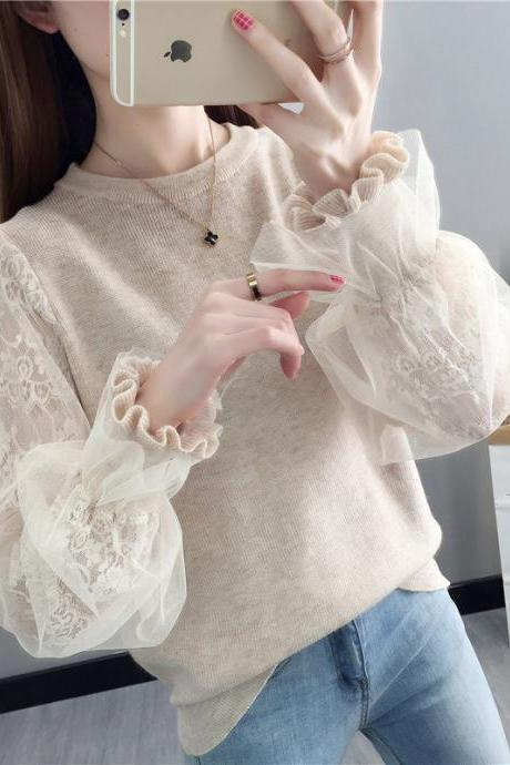 Women's Lace Stitching Sweater Lantern Sleeves Loose Wild Shirt Mesh Bottoming Shirt