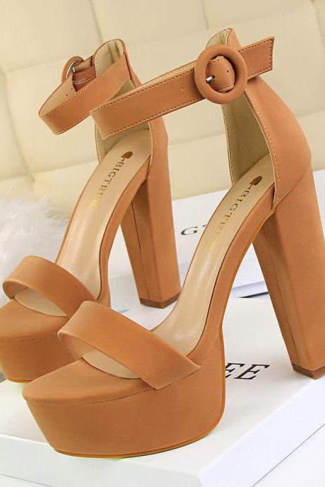 Women's Thick Heel Super Slim High Heels Sexy Nightclub Women's Shoes Waterproof Platform Open Toe Belt Buckle Sandals