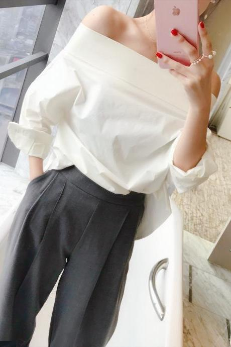 Autumn two sides wear white word shoulder word collar shirt long sleeve leaky shoulder strapless chic shirt women