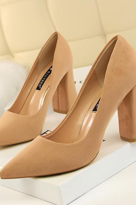European and American style simple thick heel high-heeled suede shallow mouth pointed thin women's shoes high-heeled shoes