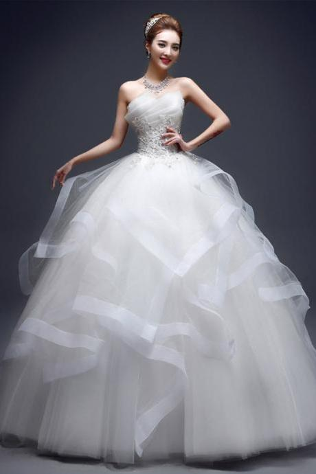 Women's Sleeveless Lace Beaded Ball Gown Wedding Dress Bridal Gown