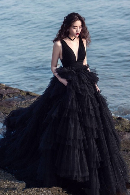 Women's Prom Party Dress Black Wedding Dress