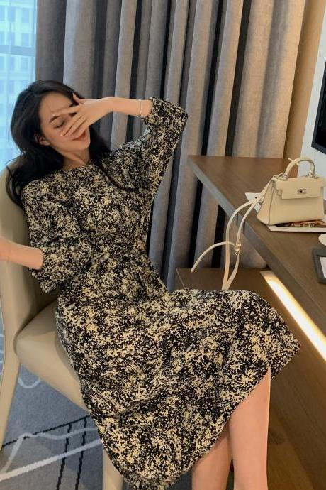Women's bottom floral dress waist long paragraph lantern sleeve floral dress long skirt