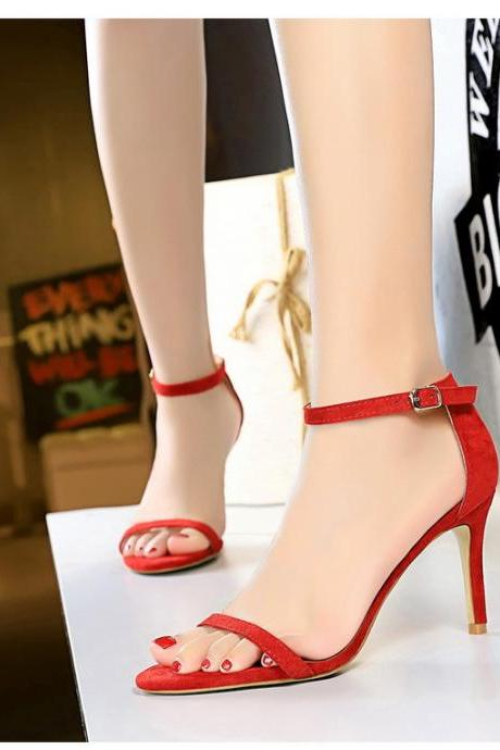 Simple fine heeled high-heeled suede open-toe belt sexy nightclub high heel women sandals